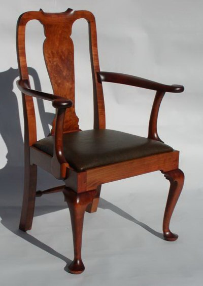 This Chair Is Shown In Solid Cherry With An Antique Cherry Stain And A  Leather Covered Slip Seat.