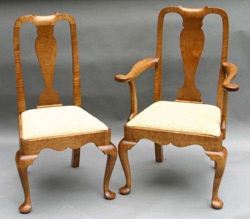 This Chair Is Shown In Solid Tiger Maple (also Called Curly Maple) With An  Antique Stain And An Upholstered Slip Seat.
